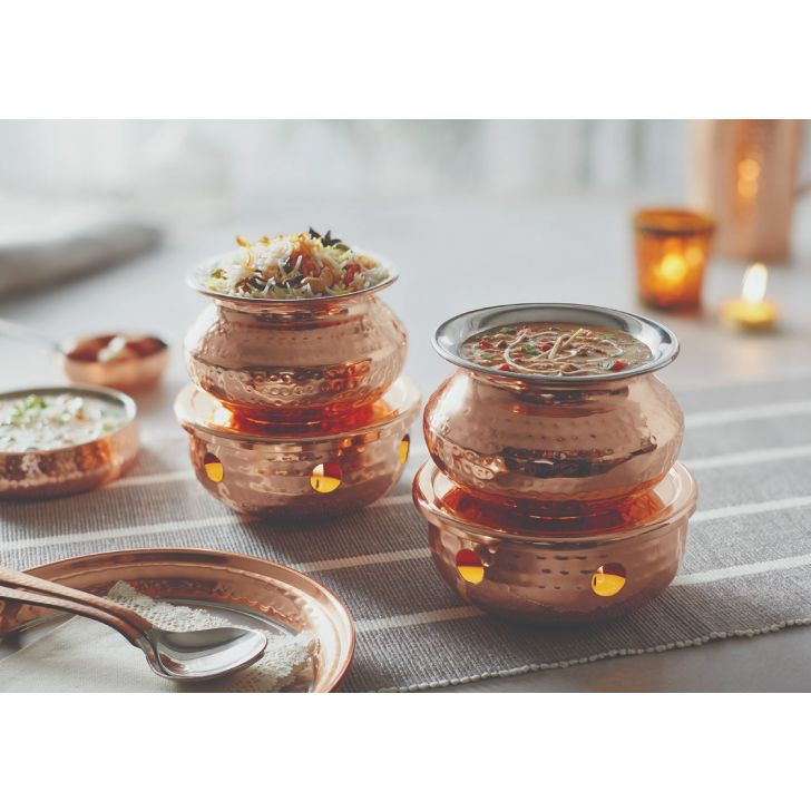 Copper Handi W. Warmer Stainless steel Serving Sets in Copper Colour by Songbird
