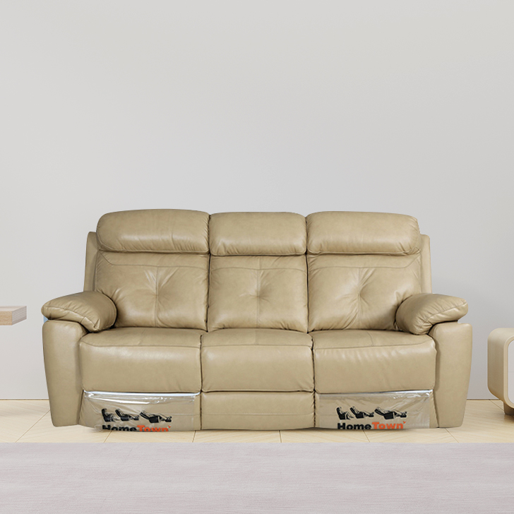 Manhattan Half Leather Three Seater Recliner in Beige Colour by HomeTown
