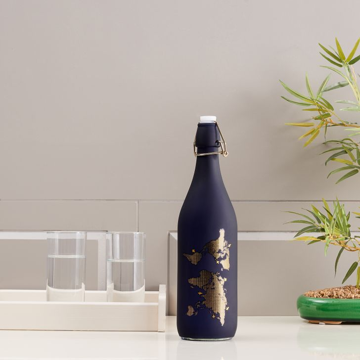 Milan Glass Blue Frosted Gold Bottle 1L in Blue Colour