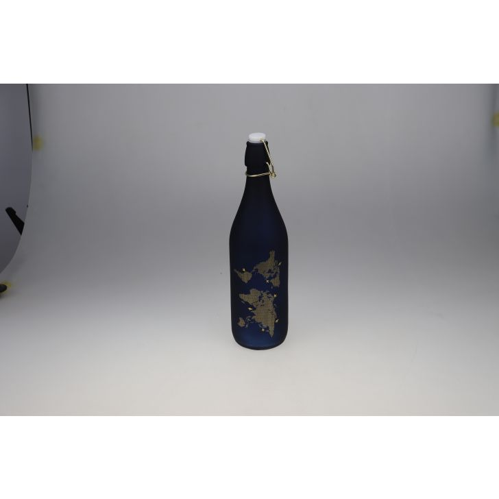 Milan Glass Blue Frosted Gold Bottle 1L in Blue Colour by Living Essence