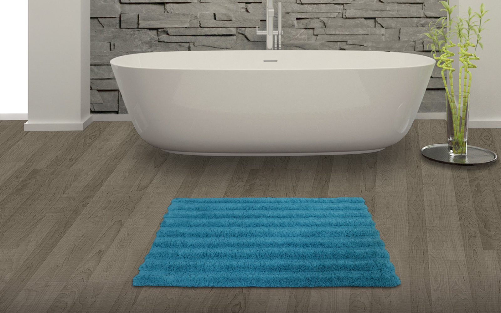 Spaces Swift Dry Turquoise Green Cotton Bath Mat - Small Cotton Bath Mats in Turq. Green Colour by Spaces