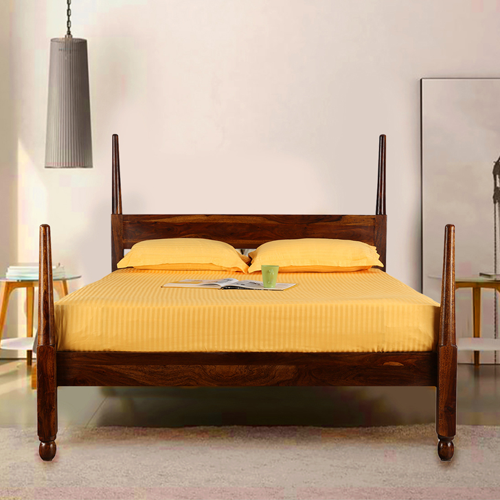 Olman Acacia Wood Queen Size Bed in Teak Colour by HomeTown