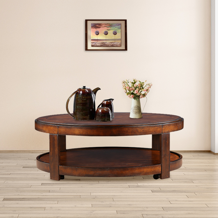 Cyrus Engineered Wood Center Table in Walnut Colour by HomeTown