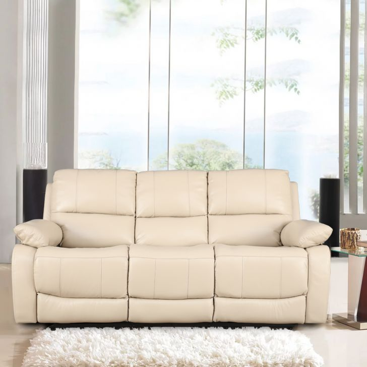 William Half Leather Three Seater Recliner in Beige Colour by HomeTown