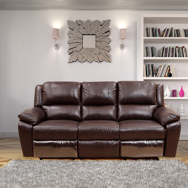 Alexander Half Leather Three Seater Recliner in Dark Brown Colour by HomeTown