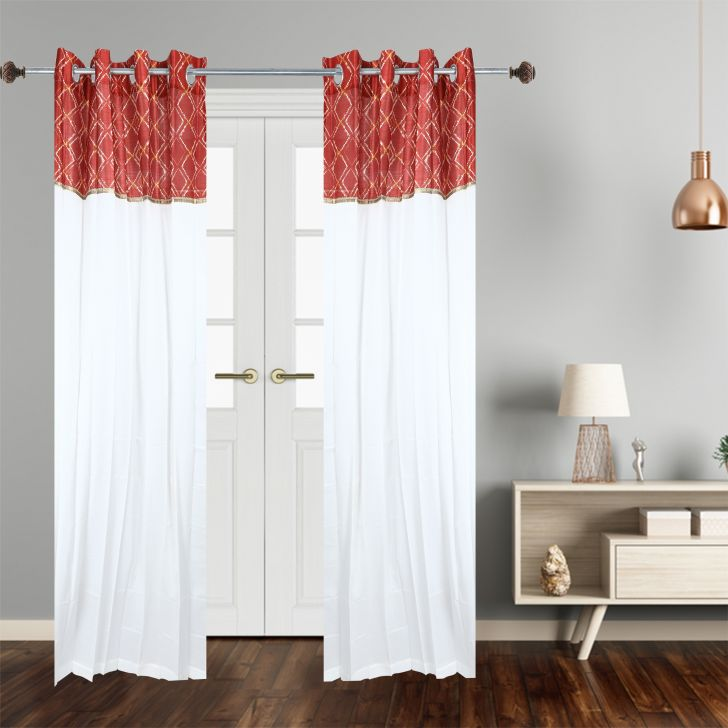 Motif Polycotton Door Curtain in Red Colour by Dreamline