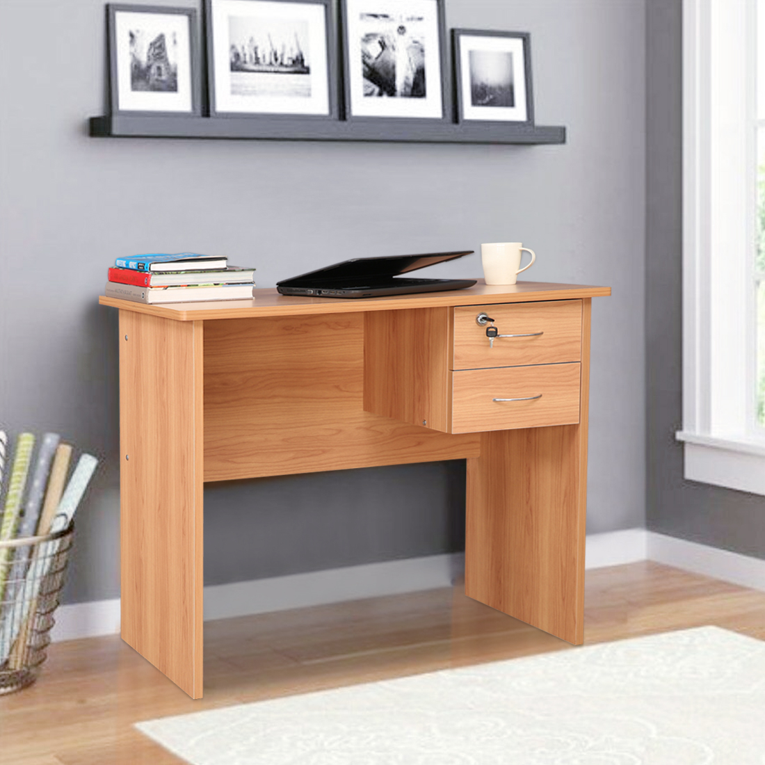 Simply Engineered Wood Study Table in Honey Colour by HomeTown