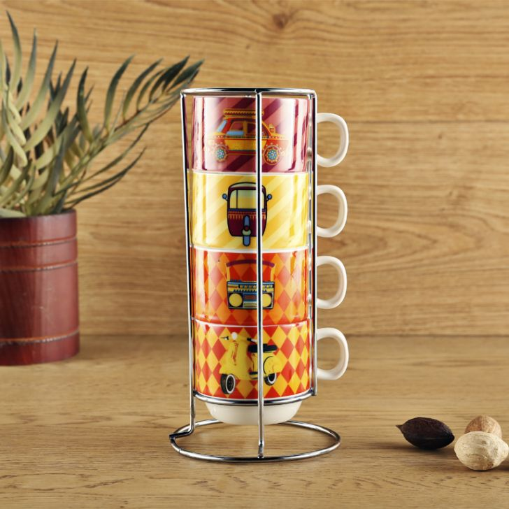 Retro Set Of 4 Mugs With Stand Ceramic Coffee Mugs in Multicolour Colour by Living Essence