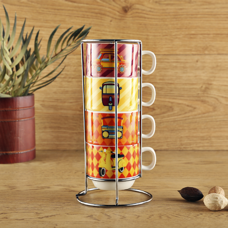 Retro Set 4 With Stand Ceramic Coffee Mugs in Multicolour Colour by Living Essence