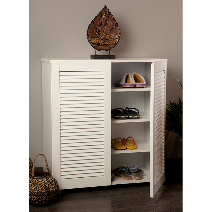 Frodo Engineered Wood Shoe Rack in White Colour by HomeTown