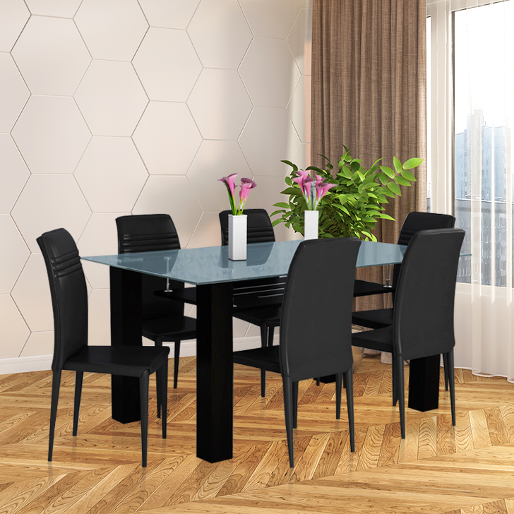 Presto Metal Six Seater Dining Set in Dark Brown Colour by HomeTown