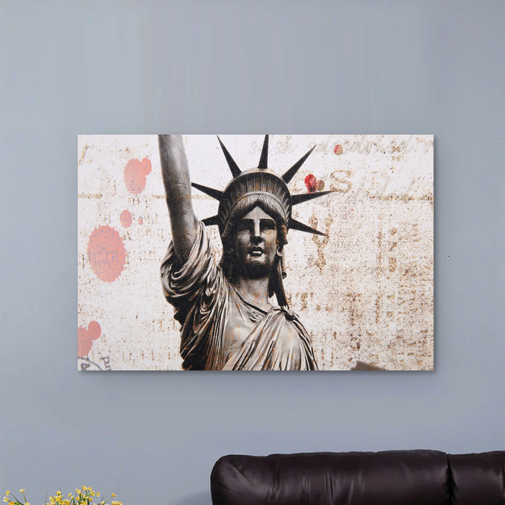 Hayden Statue Liberty 26X87Cm Painting Canvas Paintings in MULTICOLOUR Colour by Living Essence