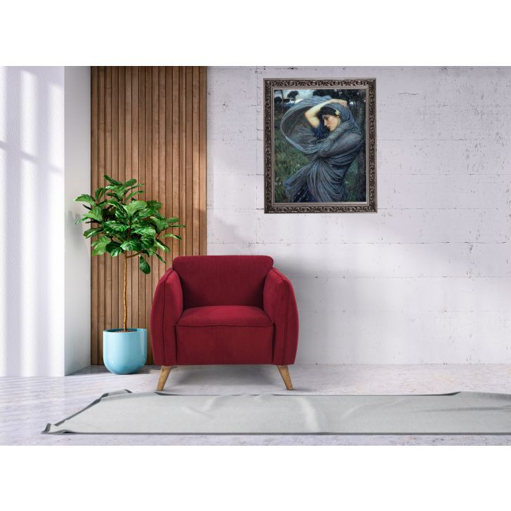 Brawny Solid Wood Single Seater Sofa in Maroon Colour