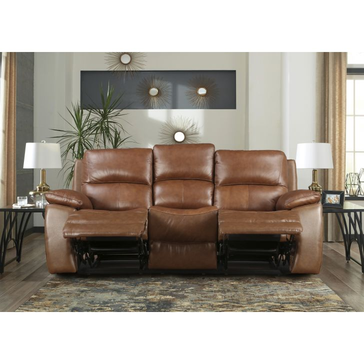 Lionel Half Leather Three Seater Recliner in Brown Colour by HomeTown