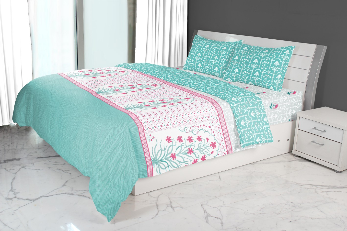 Nora Jarokha Printed Double Comforter Blue Comforters in Blue Colour by Living Essence