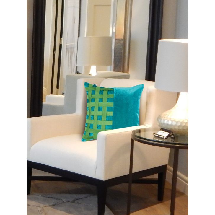 Tropical Safari Hopsack Polyester Cushion Covers in Teal Green Colour by Living Essence