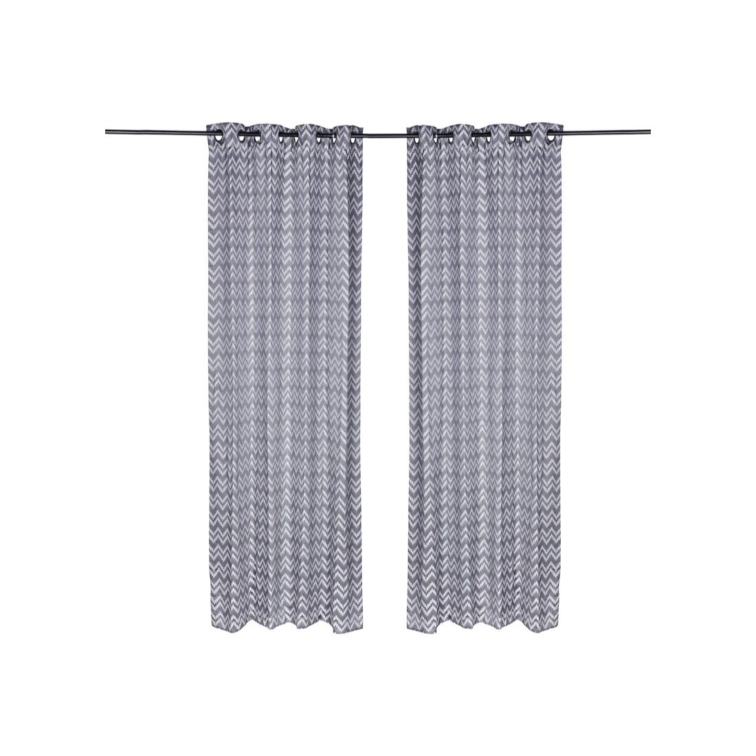 Florina Set Of 2 Curtains Polyester Door Curtains in Charcoal Colour by Living Essence