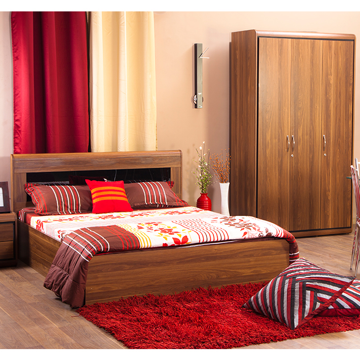 Archer Box Storage Queen Size Bed With Three Door Wardrobe Combo in Walnut Colour by HomeTown