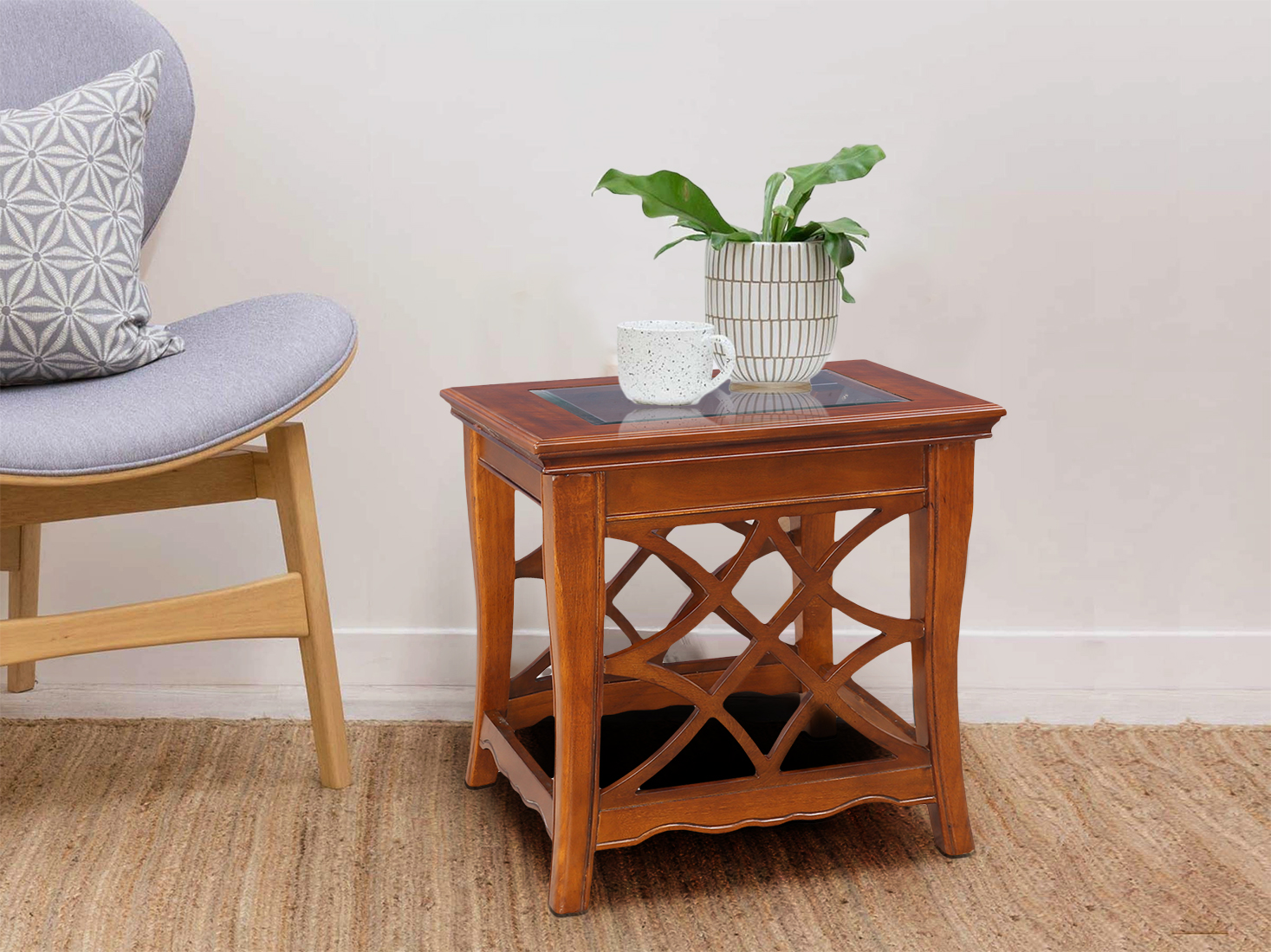 Nina Rubber Wood Side Table in Brown Colour by HomeTown