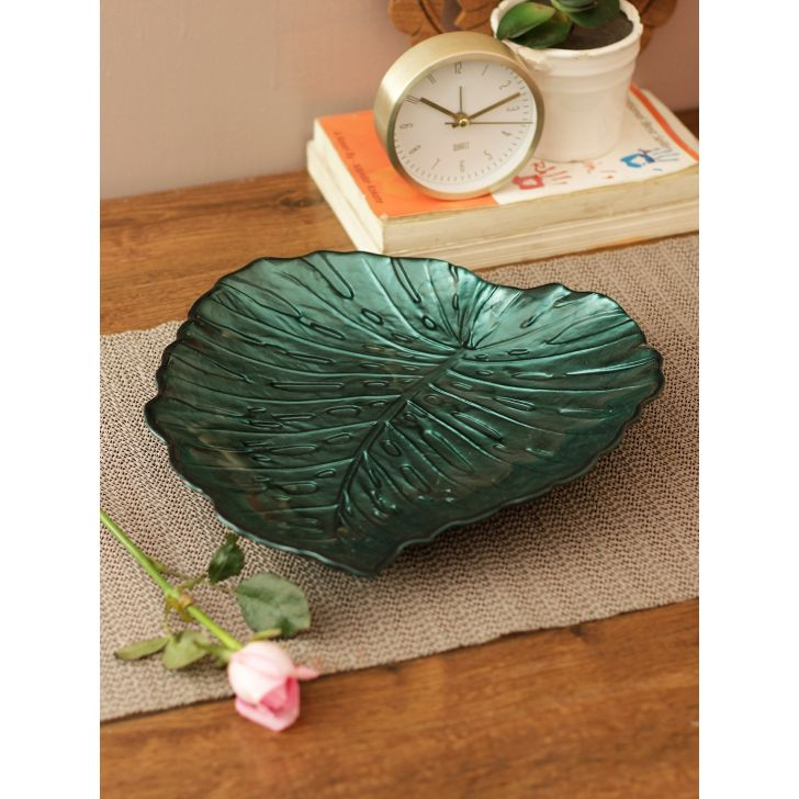 Jordan Jungle Leaf Glass Tray in Green Colour by Living Essence