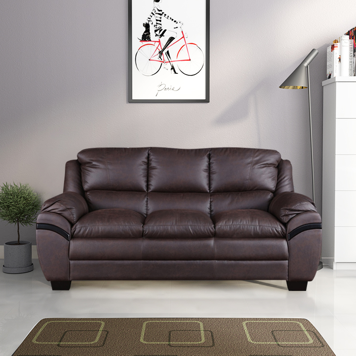 Eleanor Fabric Three Seater sofa in Dark Brown Colour by HomeTown