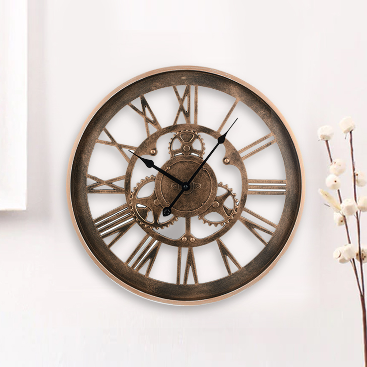 Aristo Mechanised With Roman Numbers Classic Clocks in Brown, Neutrals Colour by Living Essence