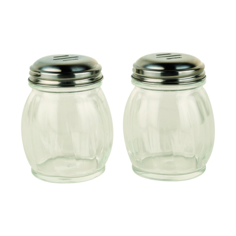 Flakes Shaker Set Of 2 Glass Spice Containers in Transparent Colour by Living Essence