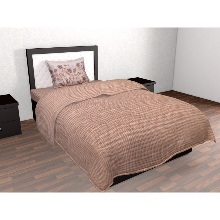 Epitome Cotton Single Bedsheet in Brown Colour by Trident