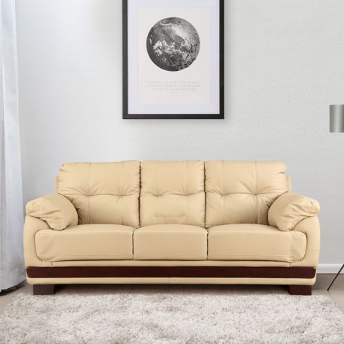 Buy Gilbert Half Leather Three Seater Sofa In Beige Colour By