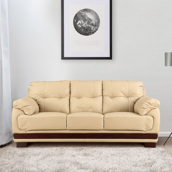 Gilbert Half Leather Three Seater sofa in Beige Colour by HomeTown