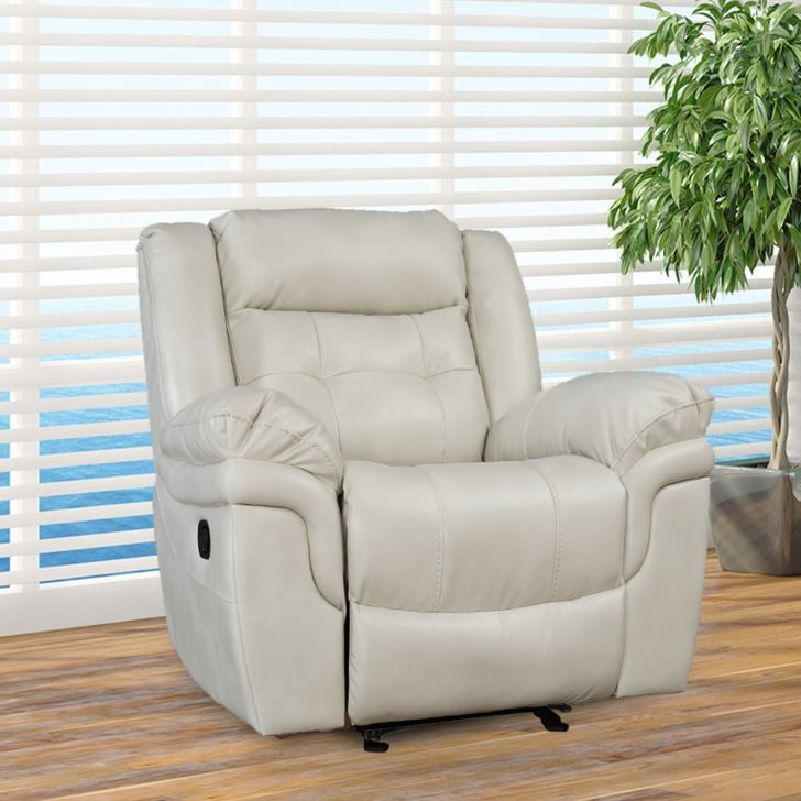 Eclairs Solid Wood Single Seat Recliner in Beige Colour by HomeTown