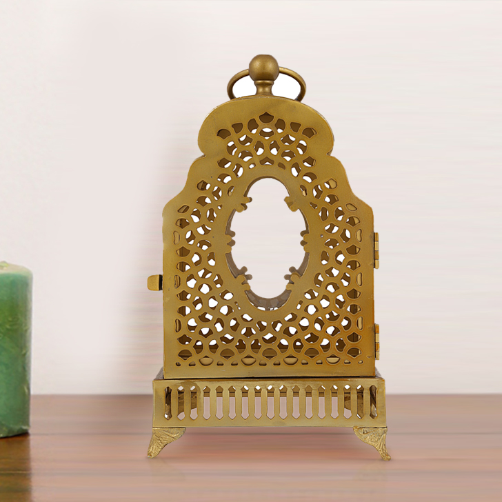 Mehr Phool Jaali on Stand Metal Candle Holder in Gold Colour by Living Essence
