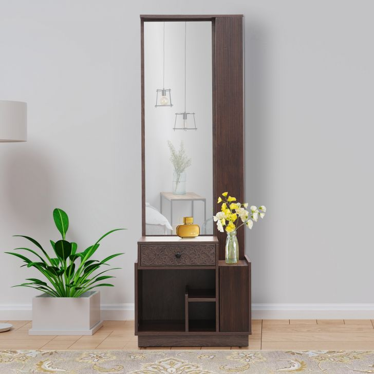 Hugo Engineered Wood Dresser With Mirror in Walnut Colour by HomeTown
