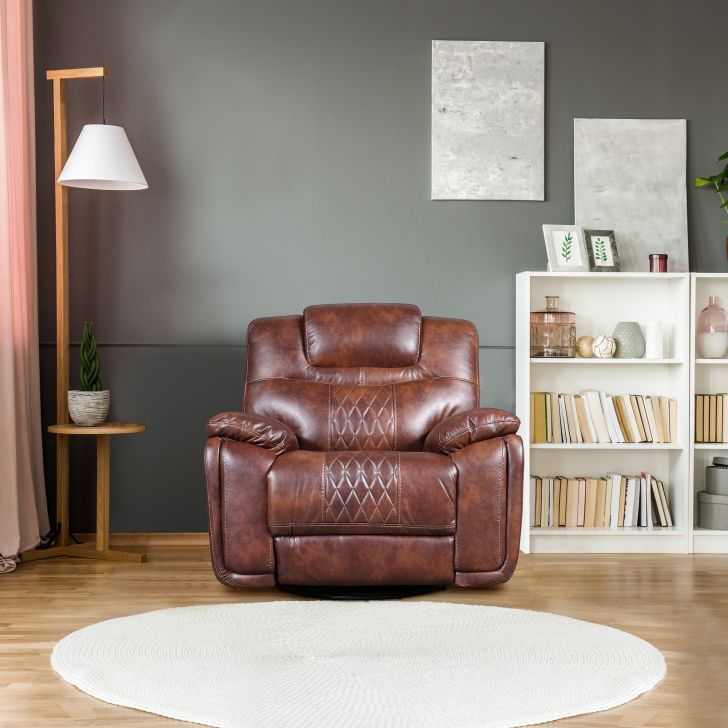 Volga Leatherette Single Seater Recliner in Brown Colour by HomeTown