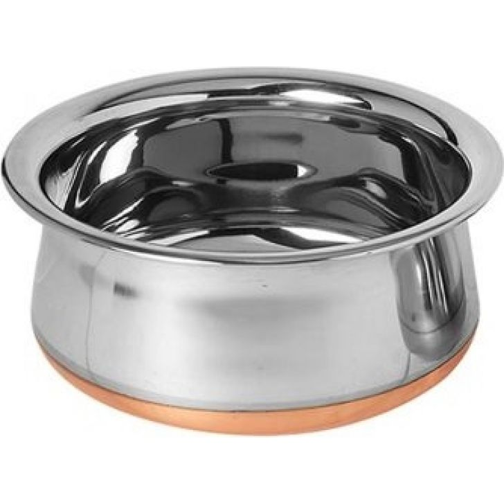 Prabhu Chetty, Without Handle Steel Copper Bottom Cooking Vessels in Silver Colour by Dreamline
