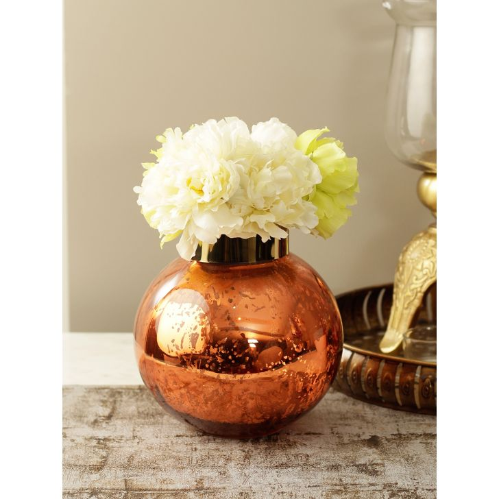 Marvela Glass Candle Holder in Orange Colour by HomeTown