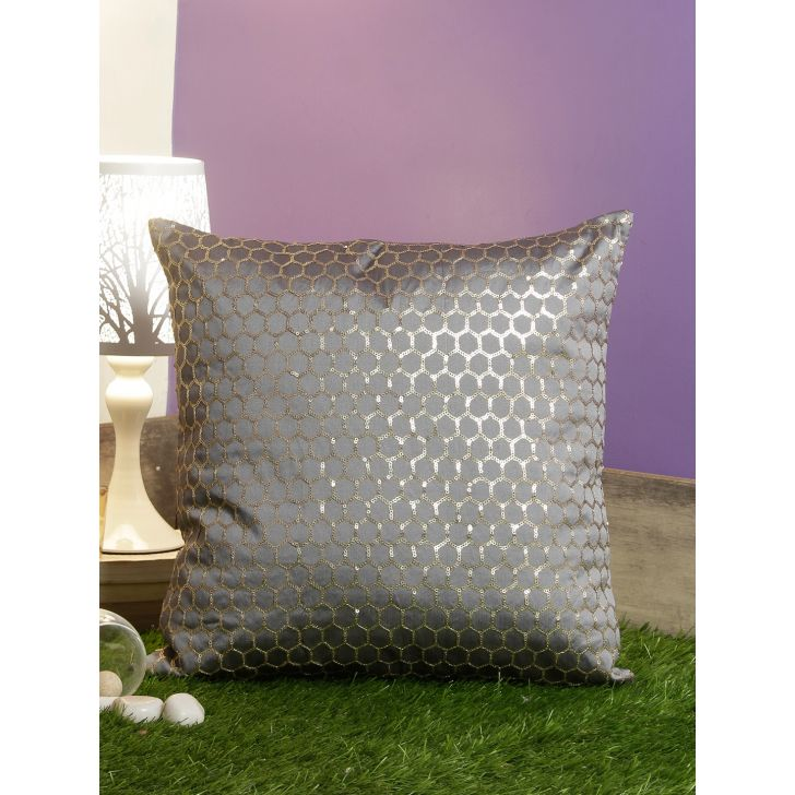 Honeycomb Polyester Cushion Covers in Grey Colour by Living Essence