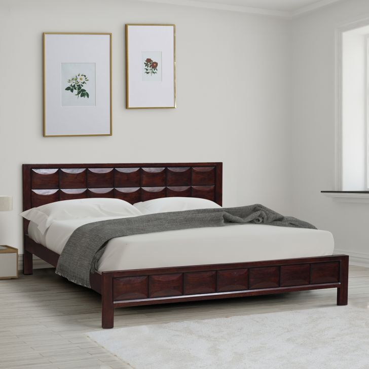 Florence Acacia Wood King bed without storage in Honey Colour