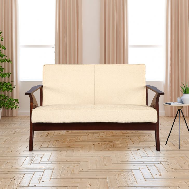 Patrick Solid Wood Two Seater Sofa With Cushion in Beige Colour by HomeTown