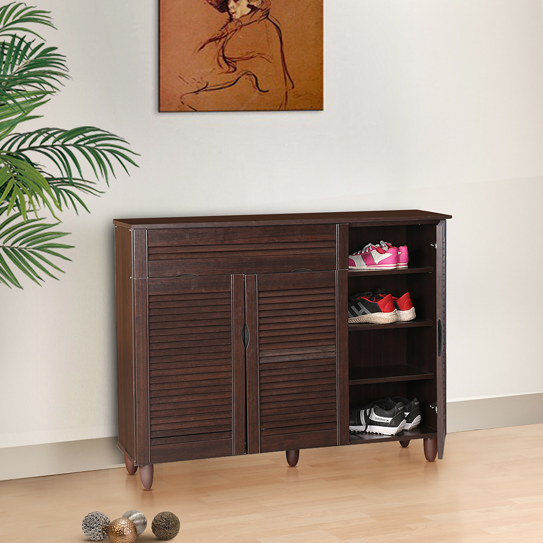 Carry Engineered Wood Shoe Rack in Wenge Colour by HomeTown