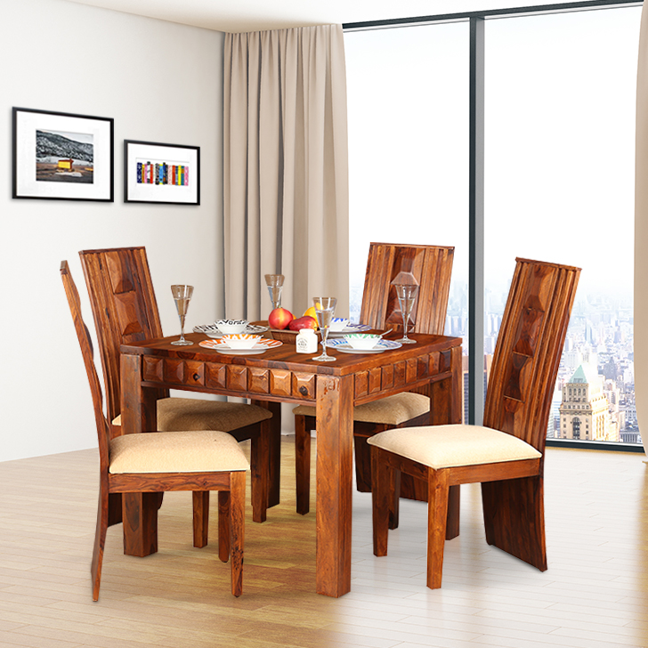 Woodrow Solid Wood Four Seater Dining Set in Honey Colour by HomeTown