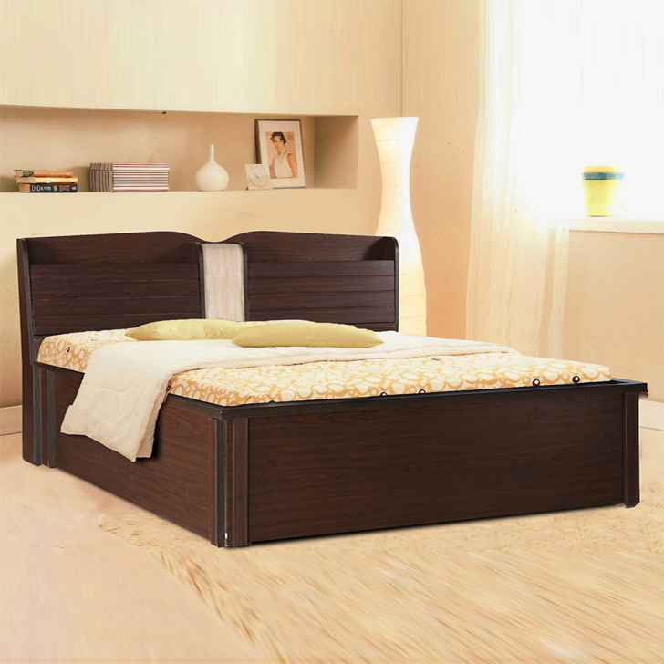 Magnum Engineered Wood Hydraulic Storage Queen Size Bed in Vermount Colour by HomeTown
