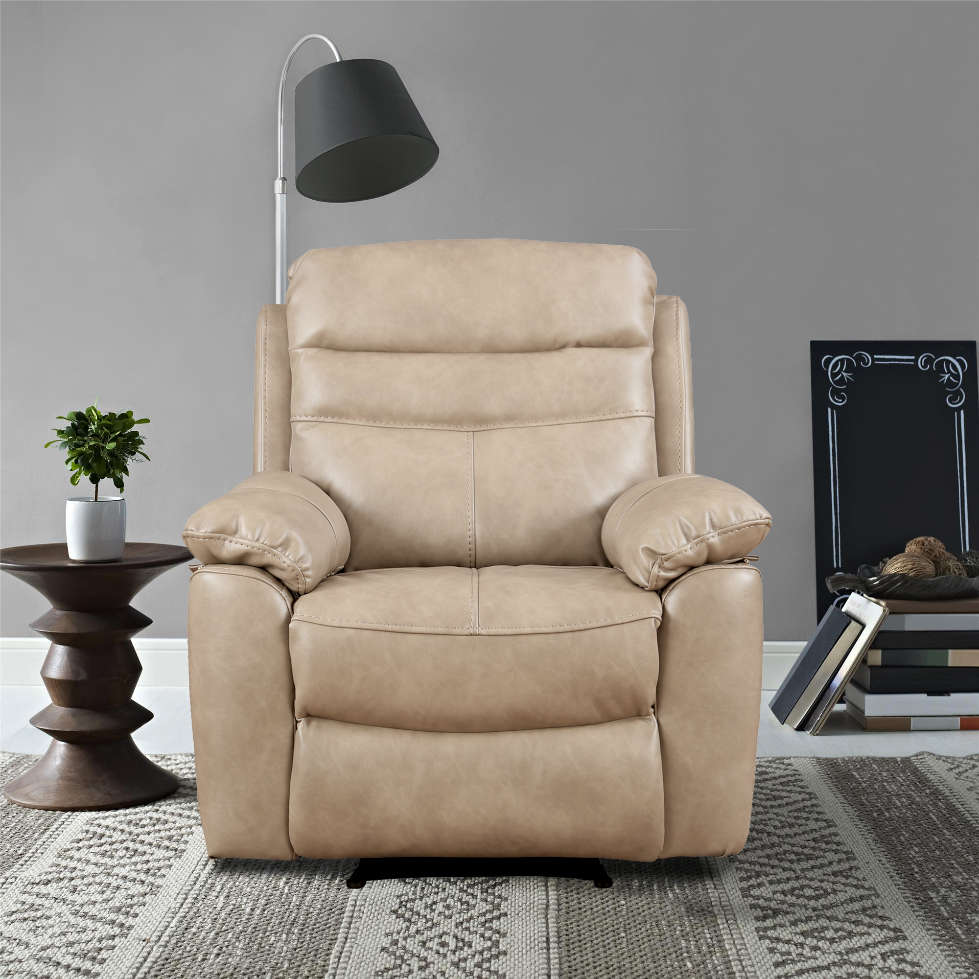 Logan Nappa Aire Single Seater Recliner in Grey Colour by HomeTown