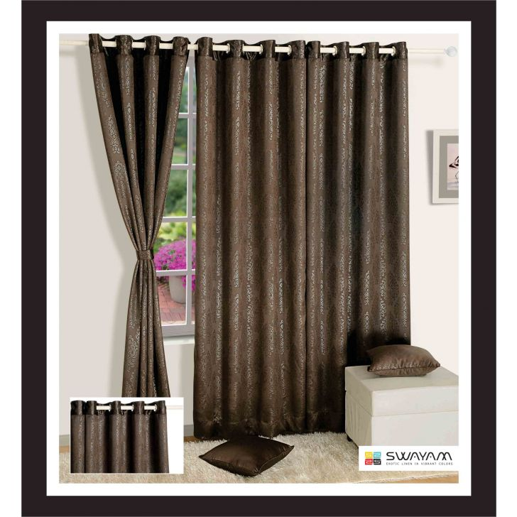Jacquard Blackout  Window Curtain 122X152 Cm In Grey Colour By Swayam
