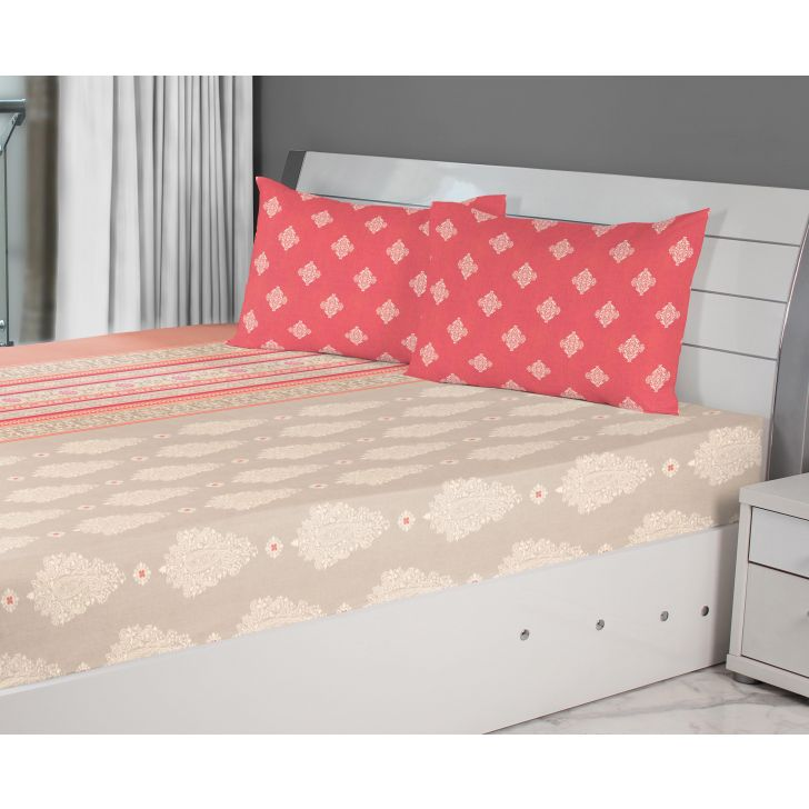 Emilia Cotton Double Bedsheets in Beige Rust Colour by Living Essence