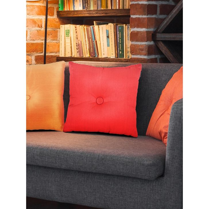 Fiesta Round Polyester Filled Cushions in Coral Colour by Living Essence