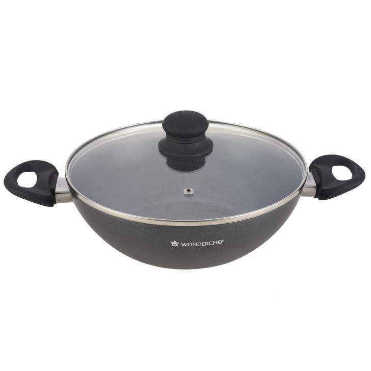 Premia Wok with lid Aluminium Fry Pans in Black Colour by Wonderchef
