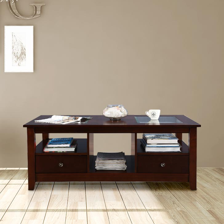Giselle Solid Wood Center Table in Brown Colour by HomeTown