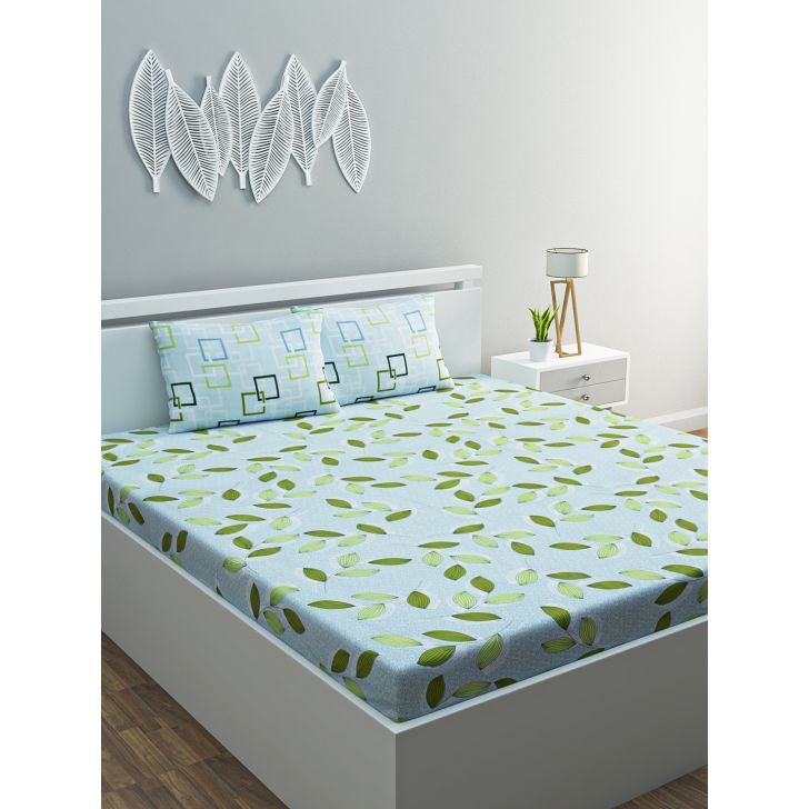 Azure Cotton Double Bedsheet 220 x 254cms in Green Colour