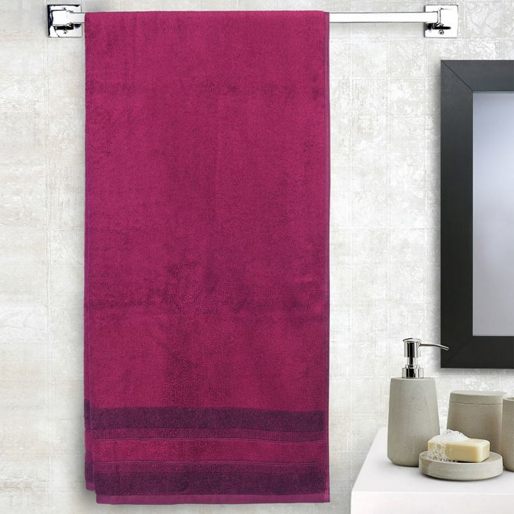 Spaces Bamboo Charcoal Solid 550 Gsm Cotton Purple Standard Bath Towel
